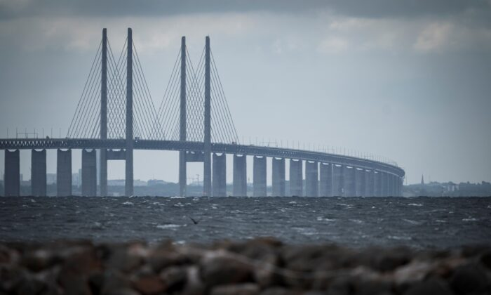 A picture of the Oresund Bridge, which connects Denmark and Sweden, taken on June 30, 2020. (Niels Christian Vilmann/Ritzau Scanpix/AFP/Getty Images)