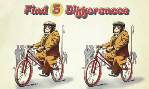 Can You Spot 5 Differences in This Cartoon of a Monkey Riding a Bicycle? Experts Only