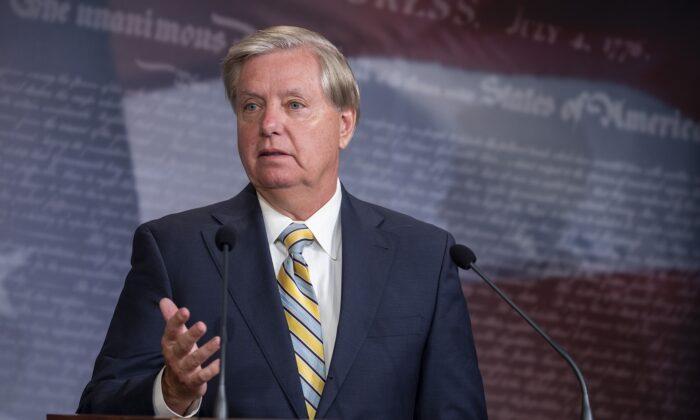 Sen. Lindsey Graham (R-S.C.) in Washington on July 1, 2020. (Tasos Katopodis/Getty Images)