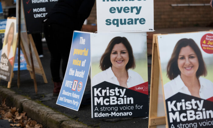 Election signages for Labor's candidate Kristy McBain are displayed outside a voting centre on July 4, 2020 in Queanbeyan, Australia. (Rohan Thomson/Getty Images)