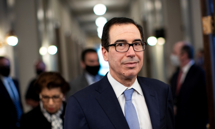 "Steven Mnuchin, U.S. Treasury secretary, arrives before a Senate Small Business Committee hearing on coronavirus relief aid and ""Implementation of title I of the CARES Act"" in Washington, on June 10, 2020. (Al Drago/Reuters)"