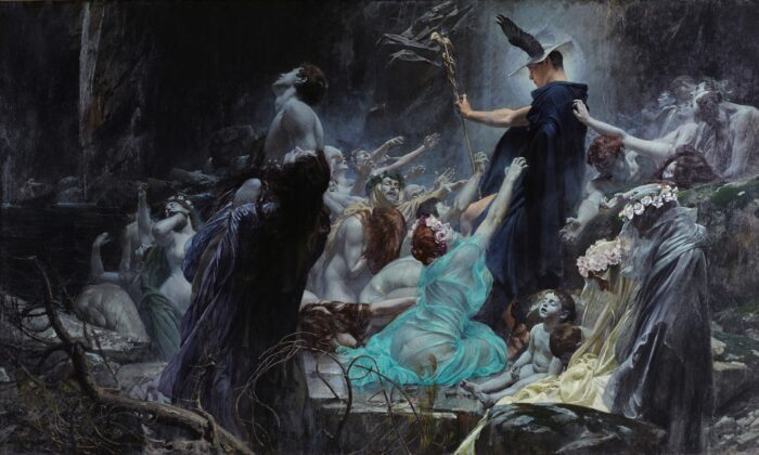 """""""Souls on the Banks of the Acheron,"""" in 1898 by Adolf Hirémy-Hirschl. Oil on Canvas, 7 feet by 11 feet. Belvedere Palace, Austria. (Pubic Domain)"""