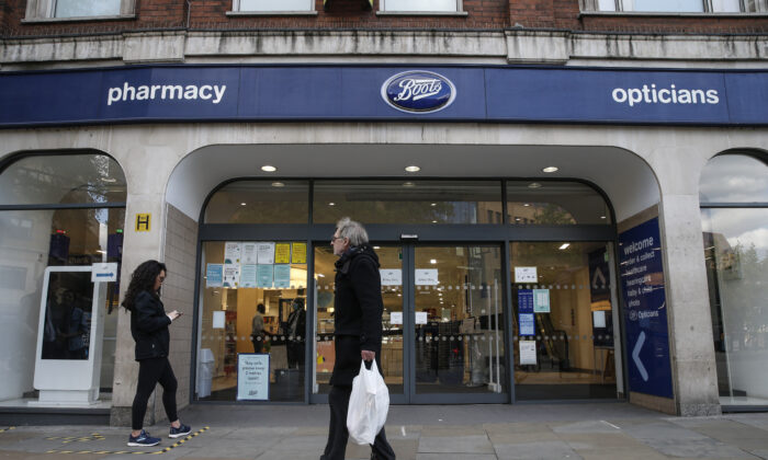 A general view of a Boots Pharmacy in London, UK, on May 2, 2020. (Hollie Adams/Getty Images)