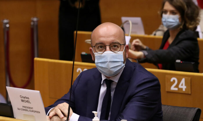 European Council President Charles Michel attends a debate about EU financing and economic recovery with EU lawmakers at the European Parliament in Brussels, Belgium, on July 8, 2020. (Yves Herman/Reuters)