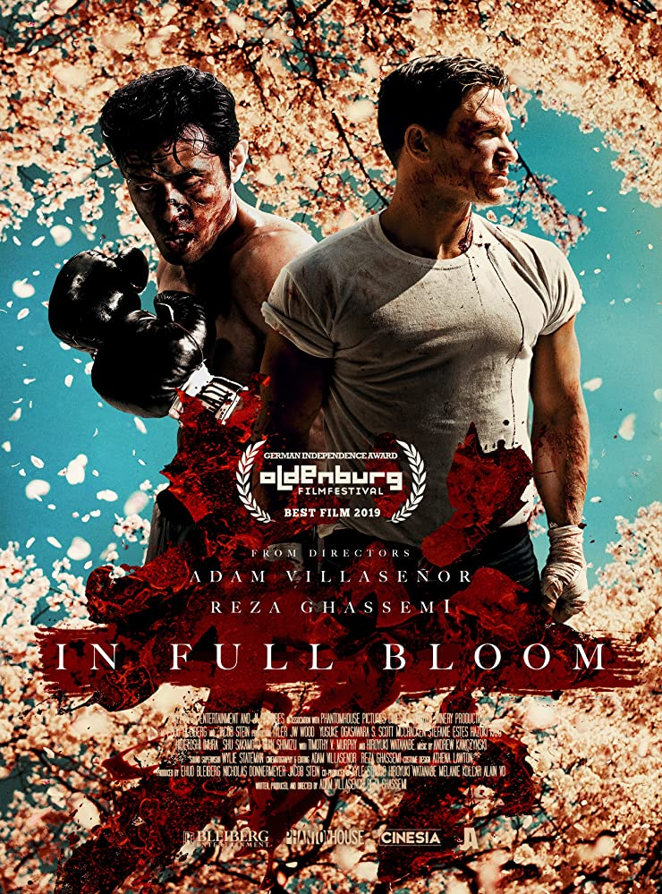"""poster showing two boxers and a blossoming cherry tree in """"In Full Bloom"""""""