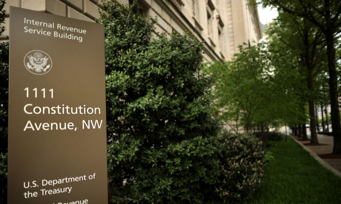 The Internal Revenue Service headquarters building appeared to be mostly empty in the Federal Triangle section of Washington, on April 27, 2020. (Chip Somodevilla/Getty Images)