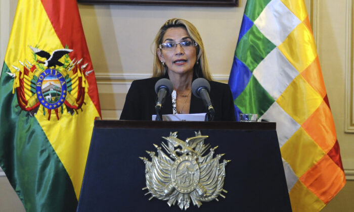 Bolivia's interim president, Jeanine Anez speaks during a press conference during her first day in power, at the Quemado presidential palace in La Paz, on Nov. 13, 2019. (Jorge Bernal/AFP via Getty Images)