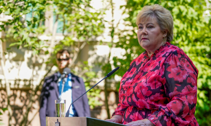 Norway's Prime Minister Erna Solberg speaks during a news conference in Oslo, Norway, on June 26, 2020. (Hakon Mosvold Larsen/ NTB Scanpix via Reuters)