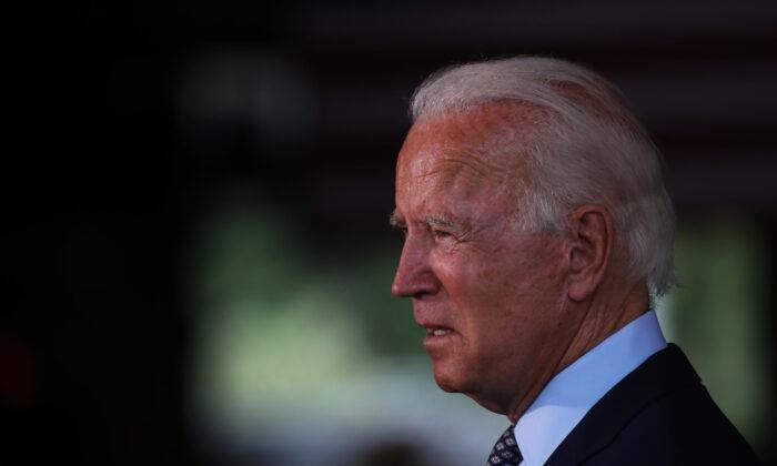 Presumptive Democratic presidential nominee Joe Biden speaks at McGregor Industries in Dunmore, Penn. on July 9, 2020. (Spencer Platt/Getty Images)