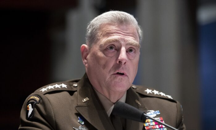 Chairman of the Joint Chiefs of Staff Gen. Mark Milley testifies during a House Armed Services Committee hearing on Capitol Hill in Washington on July 9, 2020. (Michael Reynolds/Pool via AP)