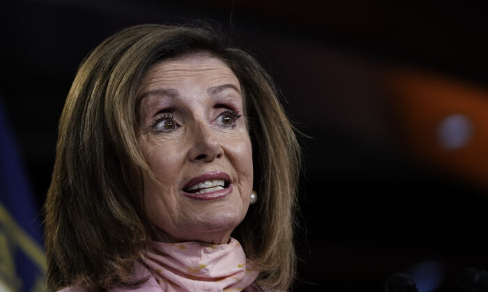 House Speaker Nancy Pelosi (D-Calif.) speaks to reporters in Washington on July 9, 2020. (Drew Angerer/Getty Images)