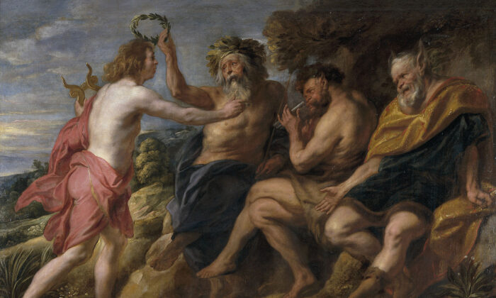 "(L–R) Apollo is crowned by Tmolus in a contest with Pan, while Midas sports new ears as punishment for poor taste. ""Apollo as Victor Over Pan,"" 1637, by Jacob Jordaens. Oil on Canvas, 70.8 inches by 106.2 inches. Prado Museum, Madrid. (Public Domain)"