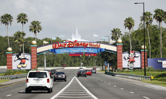 A view of the Walt Disney World theme park entrance in Lake Buena Vista, Fla., on July 11, 2020. The theme park reopened despite a surge in new COVID-19 infections throughout Florida, including the central part of the state where Orlando is located. (Octavio Jones/Getty Images)