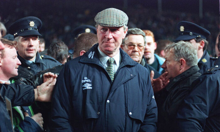 Ireland soccer team manager Jack Charlton, on Feb. 15, 1995. (PA via AP)