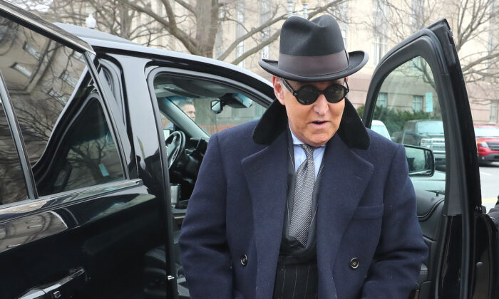 Former advisor to President Donald Trump, Roger Stone, arrives at the E. Barrett Prettyman United States Courthouse, in Washington, on February 20, 2020. (Mark Wilson/Getty Images)