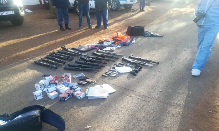 An image posted to Twitter by South African police showing firearms seized in the operation. (Courtesy of SAPoliceService/Twitter)