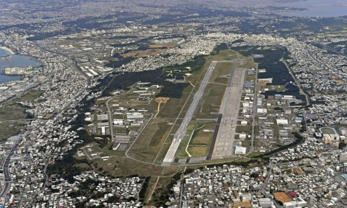 Aerial file photo shows U.S. Marine Air Station Futenma in Ginowan, Okinawa, southern Japan on Jan. 27, 2018. (Kyodo News via AP)