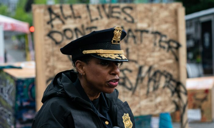 Seattle Police Chief Carmen Best addresses the press as city crews dismantle the Capitol Hill Organized Protest (CHOP) area after multiple shootings, in Seattle on July 1, 2020. (David Ryder/Getty Images)