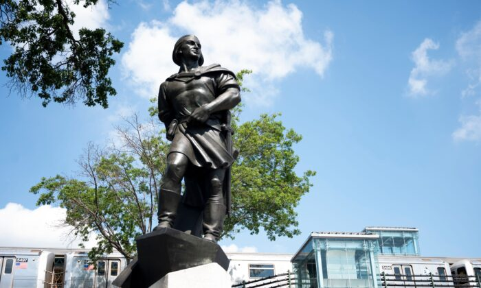 A statue of Christopher Columbus in New York City on July 9, 2020. (Johannes Eisele/AFP/Getty Images)