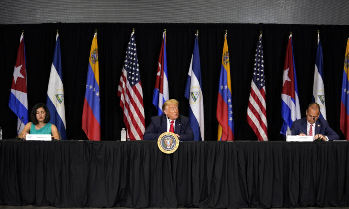 President Donald Trump speaks during a roundtable on Venezuela at Iglesia Doral Jesus Worship Center in Doral, Fla., on July 10, 2020. (Evan Vucci/ AP Photo)