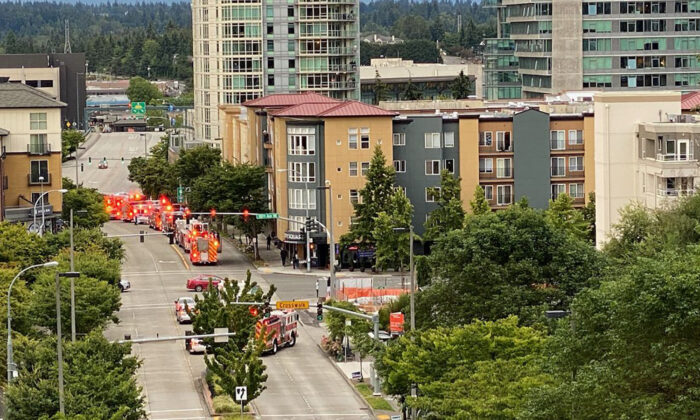 Police and fire crews rush to a scene where multiple people were injured in Bellevue, Wash., on July 11, 2020. (Bellevue Police Department)