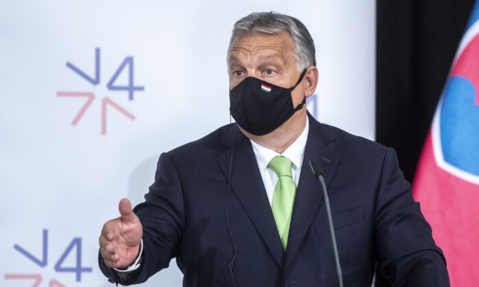 Hungarian Prime Minister Viktor Orban during the press conference at the Visegrad Group (V4) summit at Lednice Chateau in Lednice, Czech Republic, on June 11, 2020. (Gabriel Kuchta/Getty Images)