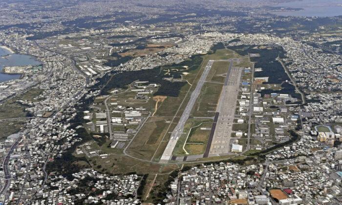 U.S. Marine Air Station Futenma in Ginowan, Okinawa, southern Japan, on Jan. 27, 2018. (Kyodo News via AP)