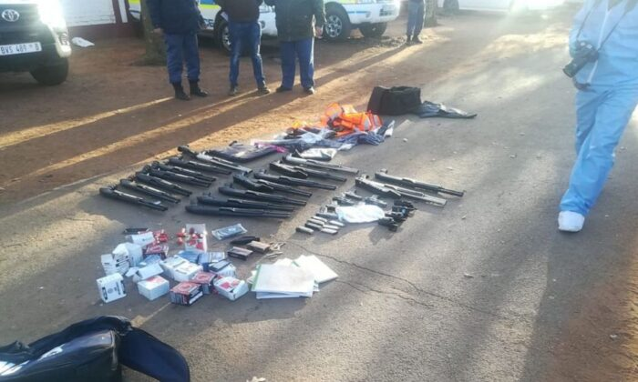 Weapons seized by South African police in connection with a hostage situation and shooting at International Pentecostal Holiness Church (South African Police Service)