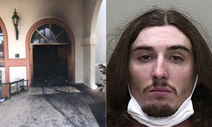 Steven Anthony Shields, 24, allegedly crashed his vehicle through the front doors of the church and attempted to set it on fire (Marion County Sheriff's Office)