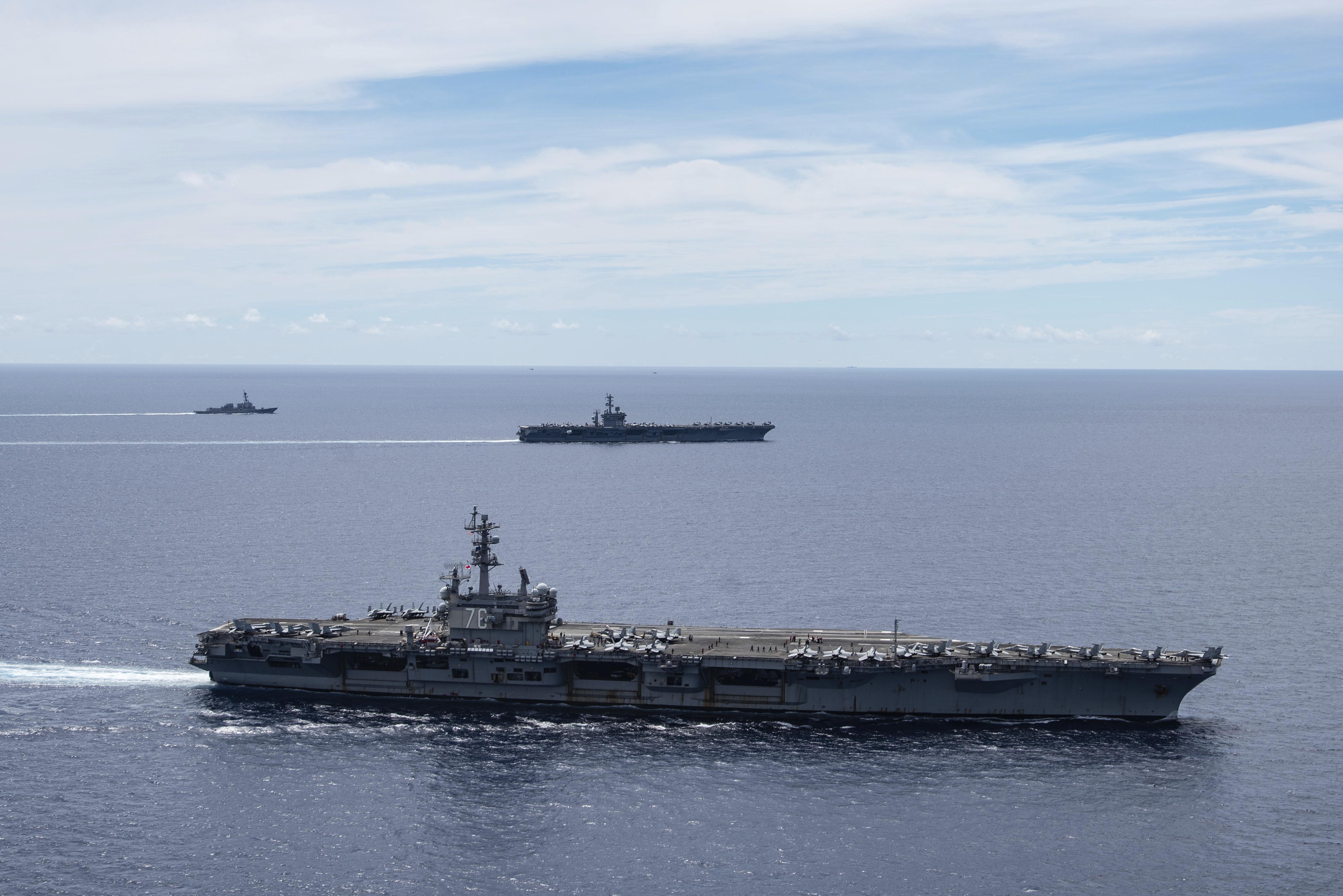The USS Ronald Reagan and USS Nimitz