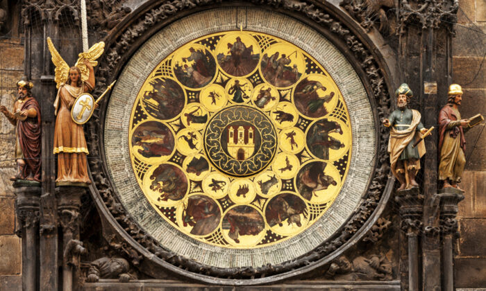 The calendar plate below the clock features a church calendar with holidays and the names of 365 saints. (Vladimir Sazonov/Shutterstock)