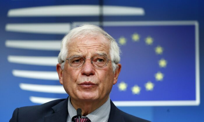 European Union High Representative for Foreign Affairs and Security Policy Josep Borrell speaks during a press conference following an EU Foreign Affairs Council in Brussels on July 13, 2020. (Francois Lenoir/ AFP via Getty Images)