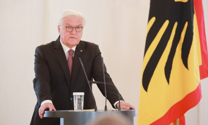 German Federal President Frank Walter Steinmeier at the Federal Constitutional Court in Berlin's Bellevue Palaceon, in Berlin, Germany, on June 22, 2020. (Christian Marquardt-Pool/Getty Images)