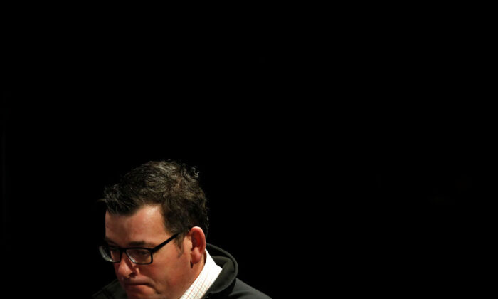 Premier of Victoria Daniel Andrews speaks to the media at the daily briefing on July 11, 2020 in Melbourne, Australia. (Darrian Traynor/Getty Images)