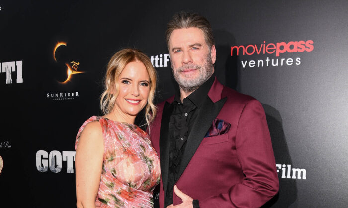 """Kelly Preston and John Travolta attend the New York premiere of Gotti starring John Travolta, in theaters on June 14, 2018.  (Dave Kotinsky/Getty Images for The """"Gotti"""" Film)"""