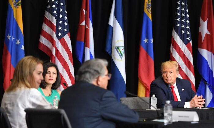 "President Donald Trump holds a roundtable on ""Supporting the People of Venezuela"" at Iglesia Doral Jesus Worship Center in Doral, Fla., on July 10, 2020. (Saul Loeb/AFP via Getty Images)"