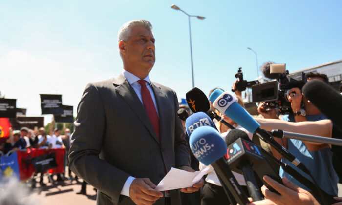Kosovo's President Hashim Thaci speaks to members of the media before being interviewed by war crimes prosecutors after being indicted by a special tribunal, in The Hague, Netherlands on July 13, 2020. (Eva Plevier/Reuters)