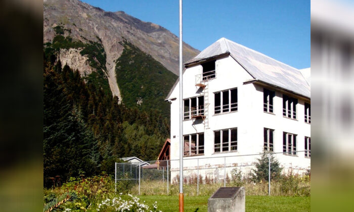 A building that remains at the site of the Jesse Lee Home in Seward, Alaska, where the territorial flag, which later became the Alaska state flag, was first flown. (Dorene Lorenz via AP)