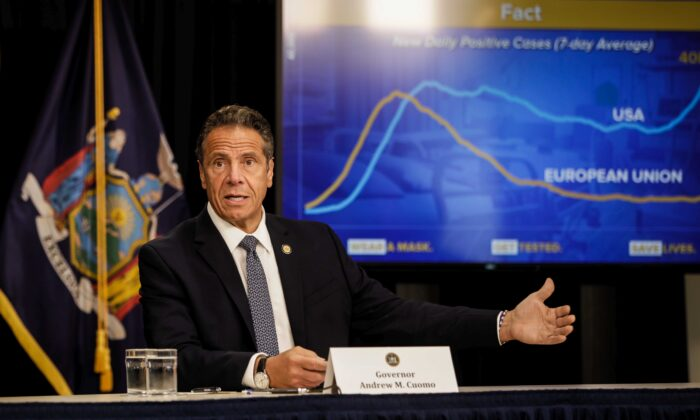 New York Gov. Andrew Cuomo speaks at a news conference in New York City on July 1, 2020. (Byron Smith/Getty Images)