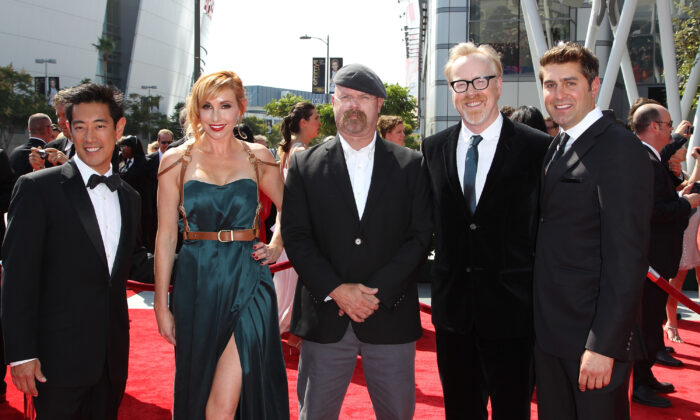 Grant Imahara, Kari Byron, Jamie Hyneman, Adam Savage, and Tory Belleci attend the 2011 Primetime Creative Arts Emmy Awards at Nokia Theatre in Los Angeles, Calif., on Sept. 10, 2011. (Noel Vasquez/Getty Images)