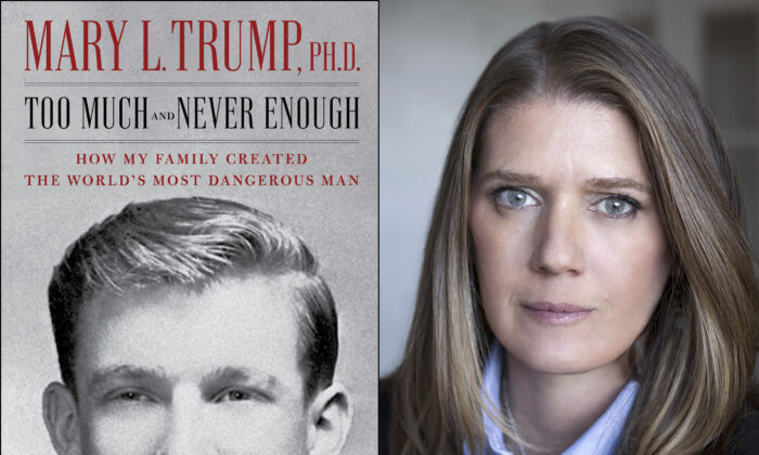 "This combination photo shows the cover art for ""Too Much and Never Enough: How My Family Created the World's Most Dangerous Man"", left, and a portrait of author Mary L. Trump, Ph.D. The book, written by the niece of President Donald J. Trump, was originally set for release on July 28, 2020, but will now arrive on July 14. (Simon & Schuster, left, and Peter Serling/Simon Schuster via AP)"