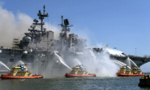 Fire Still Burning on Navy Ship in San Diego Where 57 Hurt