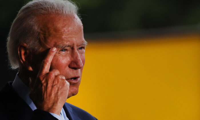 Presumptive Democratic presidential nominee Joe Biden speaks at McGregor Industries in Dunmore, Penn., on July 9, 2020. (Spencer Platt/Getty Images)