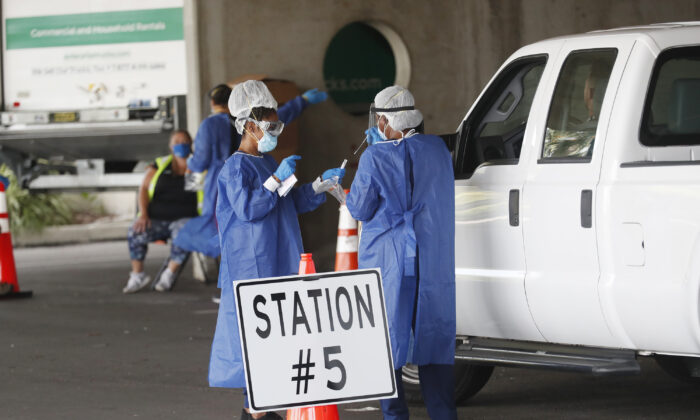 Healthcare workers test patients at the COVID-19 drive-thru testing site at the Duke Energy for the Arts Mahaffey Theater in St. Petersburg, Fla., on July 8, 2020. (Octavio Jones/Getty Images)