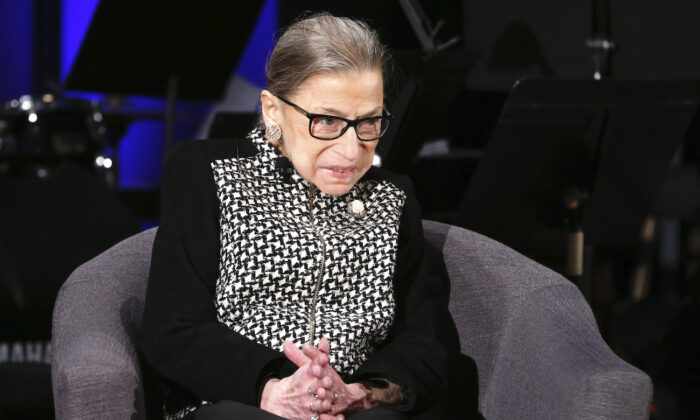 Supreme Court Justice Ruth Bader Ginsburg at the National Constitution Center Americas Town Hall at the National Museum of Women in the Arts, in Washington, on Dec. 17, 2019. (AP Photo/Steve Helber)