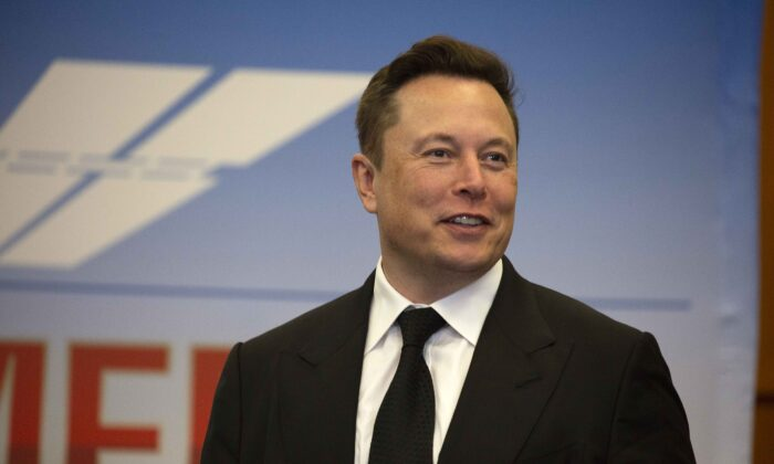 Tesla Inc CEO Elon Musk participates in a press conference at the Kennedy Space Center in Cape Canaveral, Fla., on May 27, 2020. (Saul Martinez/Getty Images)