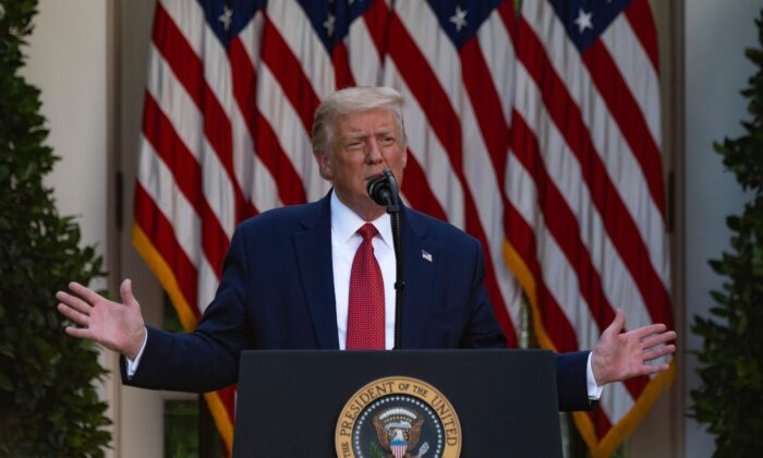 President Donald Trump gestures as he delivers a press conference in the Rose Garden of the White House in Washington on July 14, 2020. (Jim Watson/AFP via Getty Images)