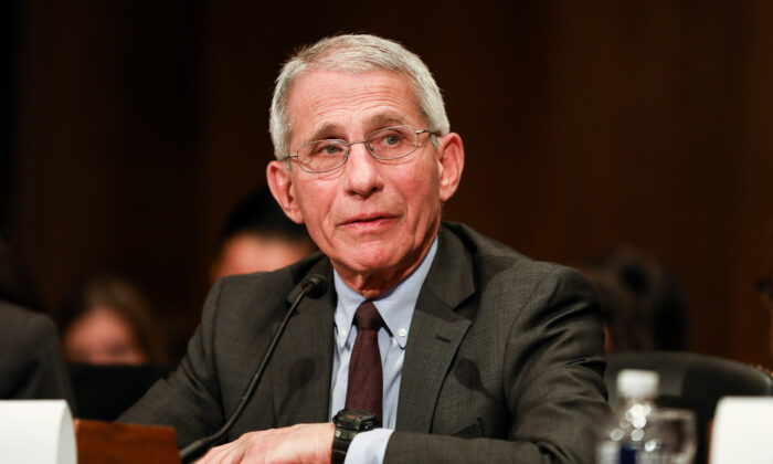 National Institute of Allergy and Infectious Diseases Director Anthony Fauci testifies at a Senate hearing regarding the CCP virus in Washington on March 3, 2020. (Charlotte Cuthbertson/The Epoch Times)