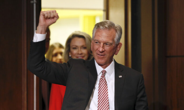 Former Auburn football coach Tommy Tuberville gestures while greeting supporters after he defeated Jeff Sessions in the Republican primary for U.S. Senate, in Montgomery, Ala., on July 14, 2020. (Butch Dill/AP Photo)