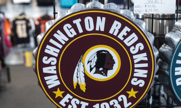 Washington Redskins merchandise is seen for sale at a sports store in Fairfax, Va., on July 13, 2020. (Andrew Caballero-Reynolds/AFP via Getty Images)